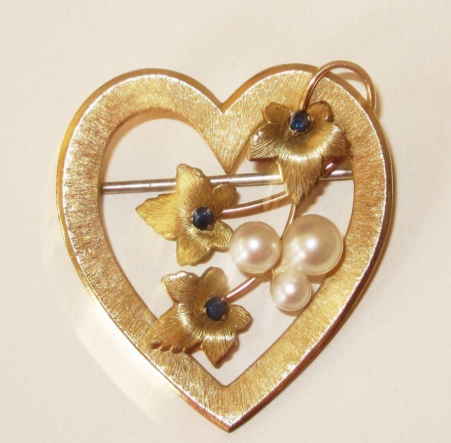 Sweet Krementz Gold Fill Heart with Pearls