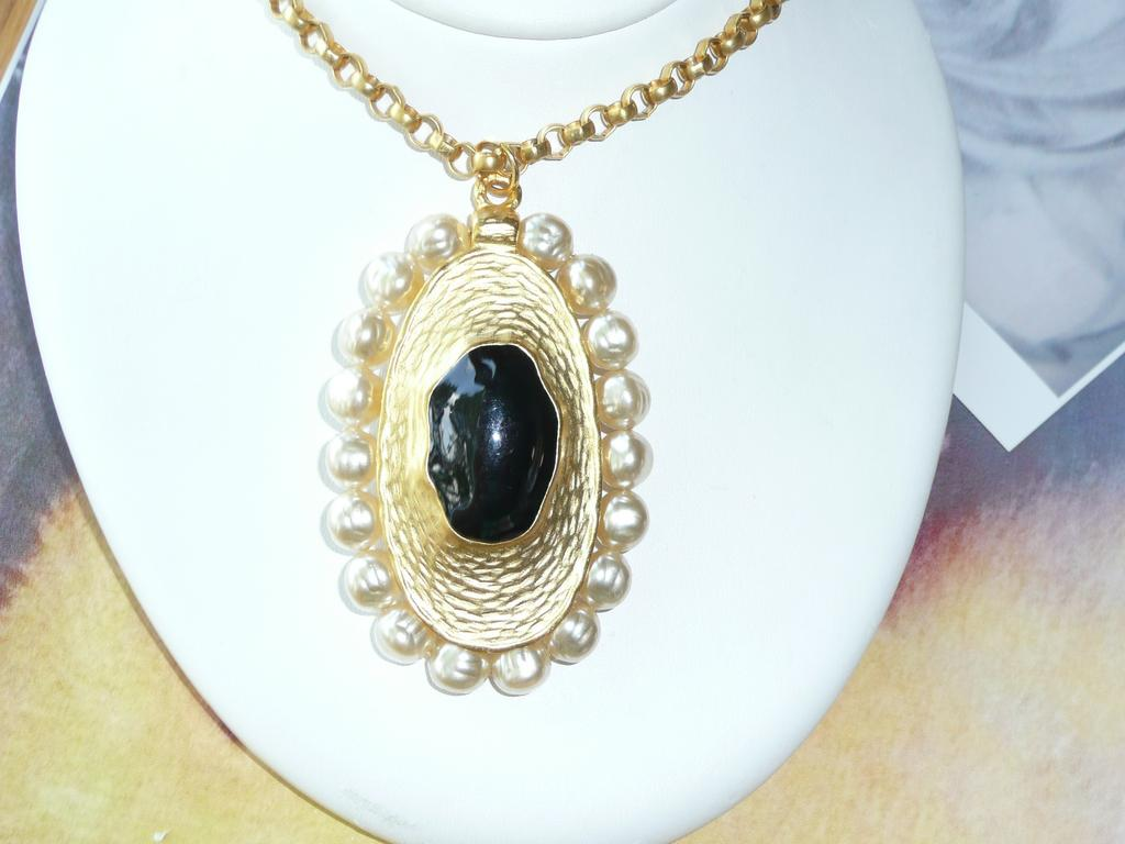 Vintage 1980's Large Pendant Necklace and Earrings Faux Pearls
