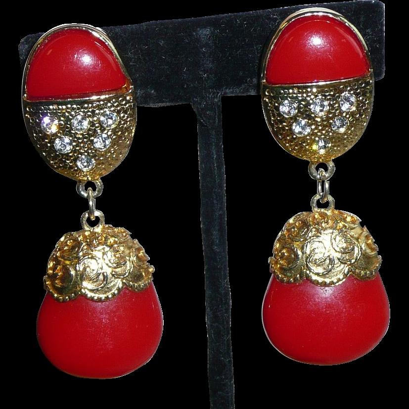 Large Red Vintage Clip Earrings
