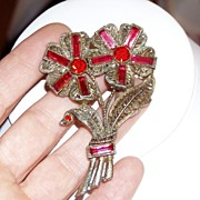 Large Vintage Red Rhinestone Flower Pin