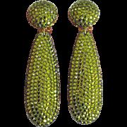 REDUCED Large 1980s Rhinestone Drop Earrings Green