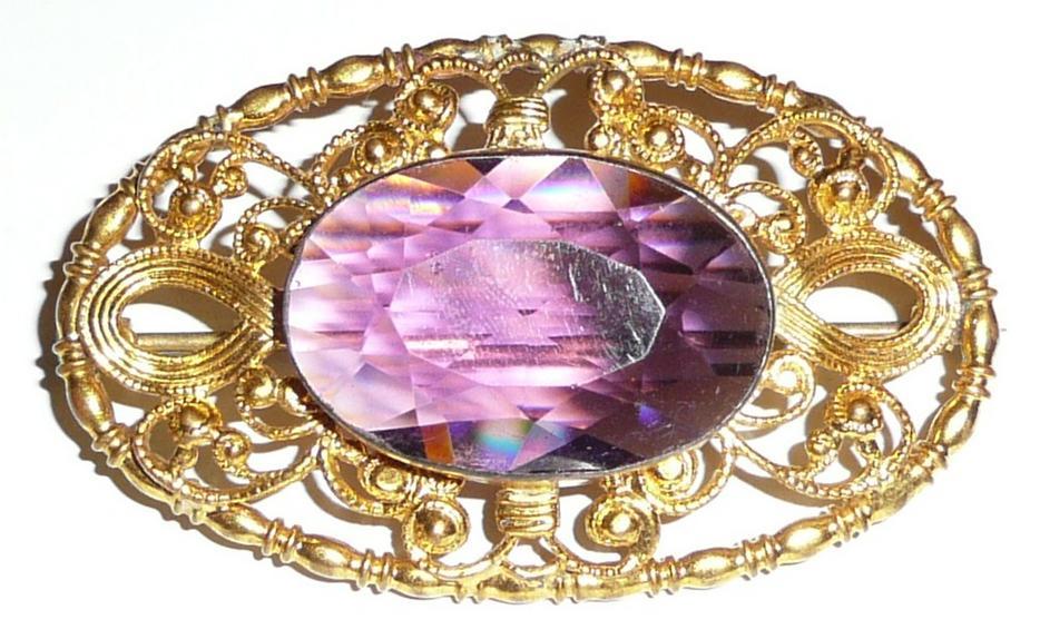 Large Victorian Gilt Brooch Purple