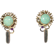 REDUCED Vintage Sterling Larimar Amethyst Druzy Earrings