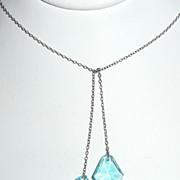 Aqua Blue Glass Lavaliere Pendants Necklace