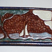 REDUCED Vintage Tooled and Painted Leather Brooch Sailboat
