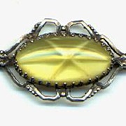 Vintage Sterling Pin Lemon Color Stone
