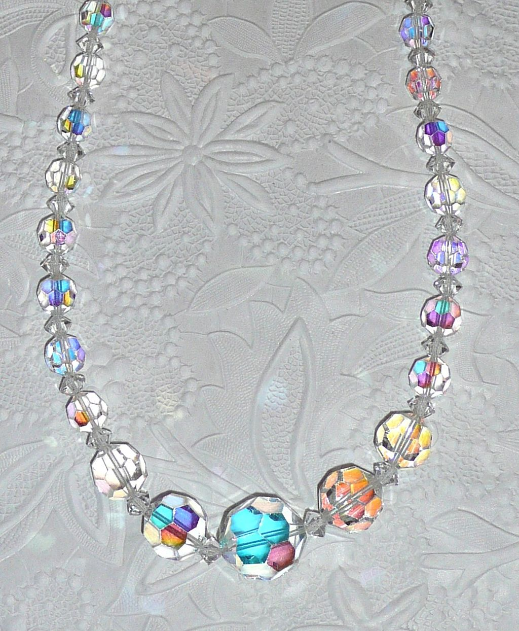 Long Crystal Beads Necklace Rainbow Colors