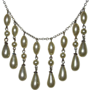 REDUCED Vintage Glass Pearl Drops Necklace Fit for a Bride