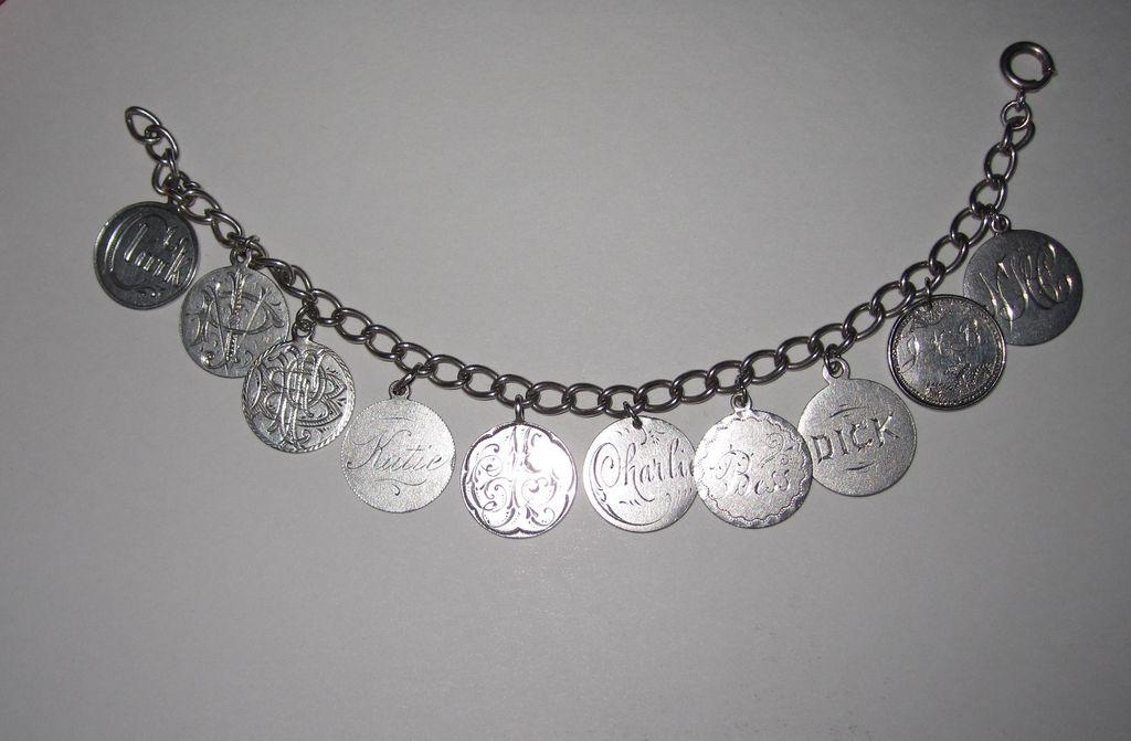 Outstanding Victorian Love Token Bracelet Ten Tokens