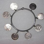 REDUCED Victorian Love Token Bangle Bracelet  8 Tokens Pictorials