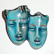 REDUCED Germany Aqua Majolica Brooch Faces