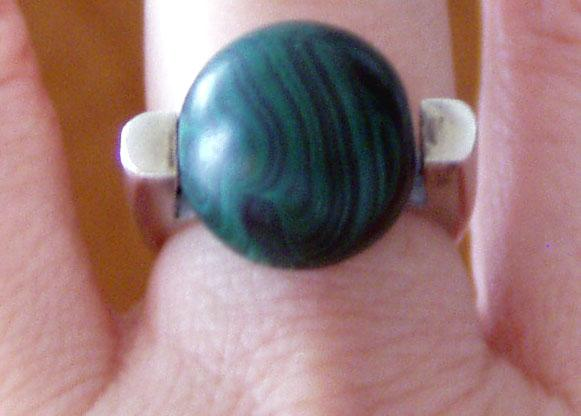 Modern Silver Malachite Ring Large Ball