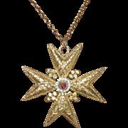 REDUCED Georgian Maltese Cross Cannetille Pendant