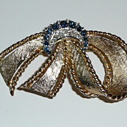 REDUCED Vintage Marboux Signed Ribbon Bow Brooch