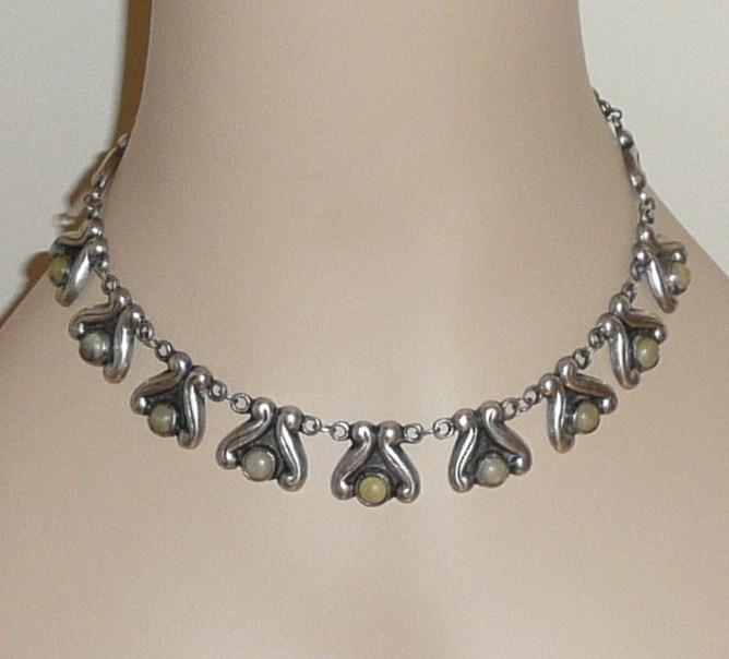 Vintage Mexican Silver Necklace and Bracelet Set