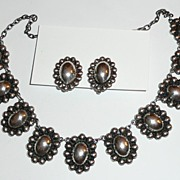 REDUCED Early Mexico Silver Necklace and Earrings
