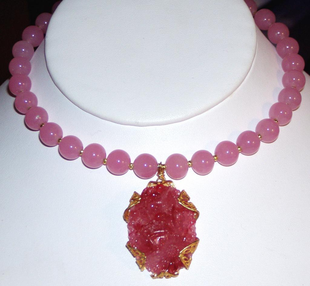 Rose Pink Glass Beads Choker with Pendant