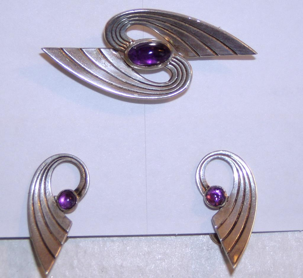 Vintage Modern Silver Sterling Amethyst Pin and Earrings