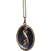 Victorian Mourning Locket Lily of the Valley Cultured Seed Pearls