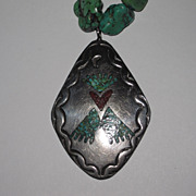 REDUCED Vintage Native American Turquoise Silver Pendant
