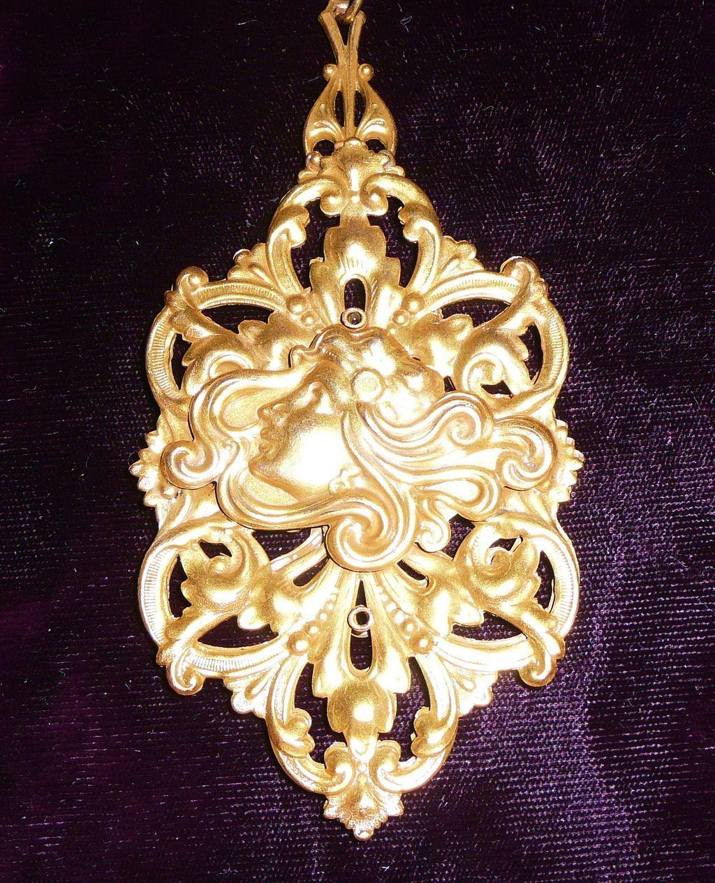 Vintage Gilt Brass Large Pendant