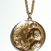 REDUCED Art Nouveau Gold Filled Pendant Lady Head