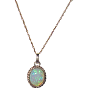 REDUCED 14K Gold Opal Pendant Necklace