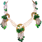REDUCED Handmade Parure Faux Pearls Green Glass Leaves Necklace Bracelet Earrings