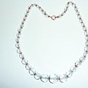 Beautiful Vintage Pale Aqua Crystal Beads Necklace