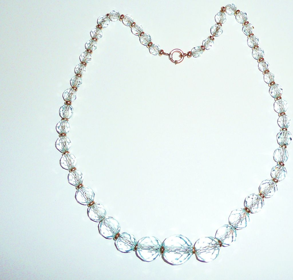 Beautiful Vintage Pale Aqua Crystal Beads Necklace