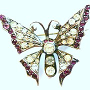 REDUCED Antique Silver Paste Butterfly Pin