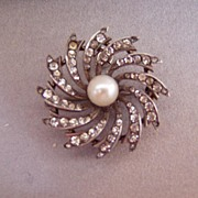 REDUCED Antique Paste Sterling Watch Holder Pin Genuine Pearl