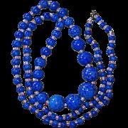REDUCED Long Art Deco Peking Glass Blue Beads