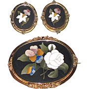 REDUCED Victorian Pietra Dura Large Brooch and Earrings