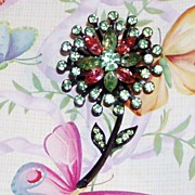 Lovely Vintage Green and Pink Rhinestone Flower Pin