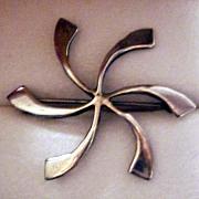 Modern Silver Pinwheel Pin