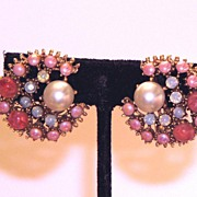 Vintage Glass Clip Earrings Pink and Moonstone