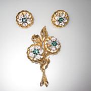 Vintage Flower Brooch and Earrings