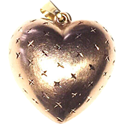 REDUCED Vintage 14K Gold Puffy Heart Charm