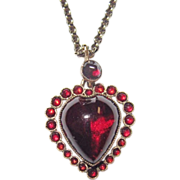 REDUCED Victorian Puffy Garnet Heart Charm Gorgeous