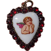 REDUCED Victorian Garnet Cherub Heart Charm