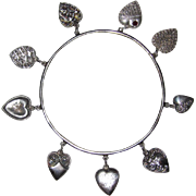 REDUCED Genuine Victorian Sterling Puffy Hearts Bracelet 9 Hearts