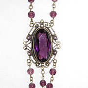 REDUCED Victorian Purple Long Pendant Necklace