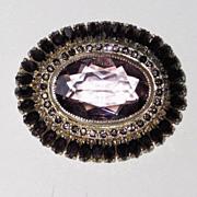 Vintage Purple Glass Brooch Oval