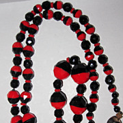 REDUCED Art Deco Bi-Color Black and Red Glass Necklace