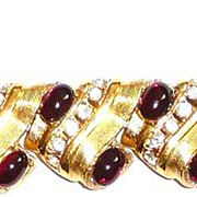 REDUCED Chunky Vintage Rhinestone Bracelet Red