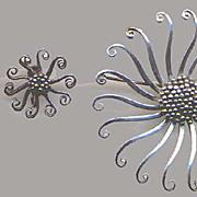 REDUCED Sterling Modern Brooch with Earrings