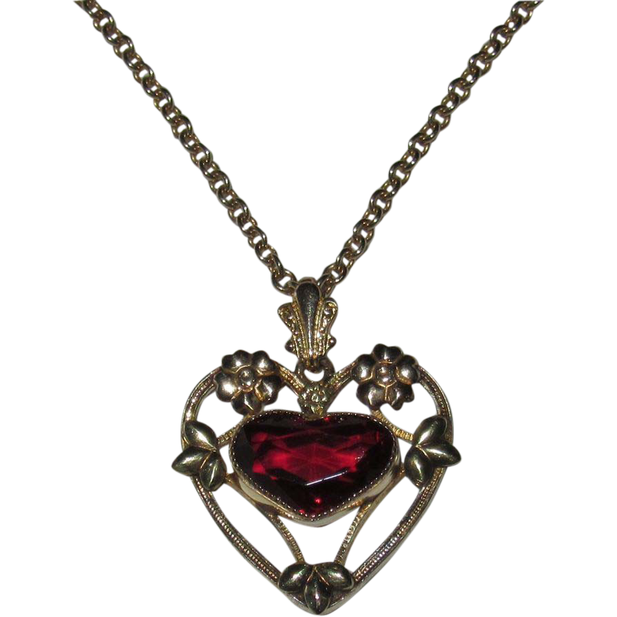 Vintage Heart Shaped Red Stone Gold Filled Pendant