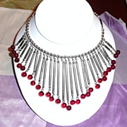 REDUCED Awesome Fringe Necklace with Poured Glass Beads Red