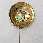 REDUCED Victorian Reverse Painted Carved Stickpin